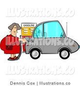 Royalty Free Stock Illustration of a Woman Pumping Regular Unleaded Gas into Her Compact Car by Djart