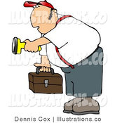 Royalty Free Stock Illustration of a Worker Man Carrying a Toolbox and Pointing a Flashlight at Something in the Dark by Djart