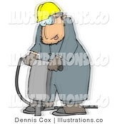 Royalty Free Stock Illustration of a Worker Vibrating While Operating a Portable Jackhammer by Djart