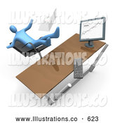 Royalty Free Stock Illustration of a Worried Blue Business Person Falling Backwards After Clumsily Leaning Too Far Back in a Chair at His Computer Desk While Comparing Graphs on a Printout and on the Computer by 3poD