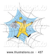 November 7th, 2013: Royalty Free Stock Illustration of a Worried Businessman in a Yellow Suit, Stuck in a Spider Web by Andy Nortnik