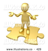 November 7th, 2013: Royalty Free Stock Illustration of a Worried Confused Gold Person Holding Their Hands out by 3poD