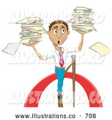 Royalty Free Stock Illustration of a Worried Stressed Businessman Carrying Stacks of Papers While Walking on a Tightrope by AtStockIllustration