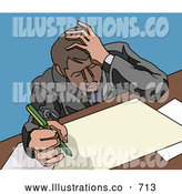 Royalty Free Stock Illustration of a Worried Stressed Businessman Doing Paperwork at a Desk by AtStockIllustration