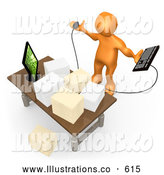 Royalty Free Stock Illustration of a Worried Stressed Orange Employee Staring at Their Crowded Desk Topped with Stacks of Paperwork, Trying to Figure out Where They Can Put Their Computer Keyboard by 3poD