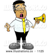 Royalty Free Stock Illustration of a Yelling Black Businessman Mascot Character Screaming into a Megaphone by Toons4Biz