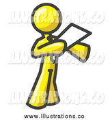 Royalty Free Stock Illustration of a Yellow Businessman Reading from a Paper by Leo Blanchette