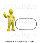 Royalty Free Stock Illustration of a Yellow Man Giving the Thumbs up While Standing by a Blank Sign Which Is Ready for an Advertisement by 3poD