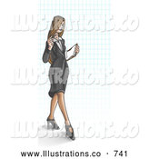 Royalty Free Stock Illustration of a Young, Long Haired Business Woman over a Grid Background by Leo Blanchette
