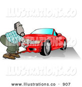 Royalty Free Stock Illustration of ABlack Male Insurance Agent Accessing Damage of a Wrecked Sports Car by Djart