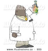 Royalty Free Stock Illustration of ABlack Scientist Man Holding Beaker with Chemicals by Djart