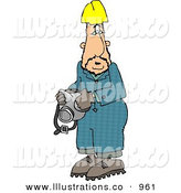 Royalty Free Stock Illustration of ACaucasian Man Wearing a Yellow Hardhat and Holding a Respirator on a White Background by Djart