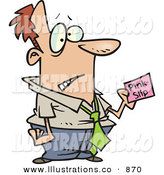 Royalty Free Stock Illustration of ACaucasian White Business Man Holding a Pink Slip by Toonaday