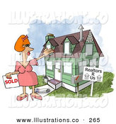 Royalty Free Stock Illustration of ACheerful Caucasian Female Realtor Taking a House off the Market by Djart