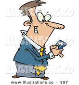 Royalty Free Stock Illustration of ACheerful Man Using a BlackBerry Wireless Handheld Device to Send Text Messages by Toonaday