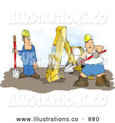 Royalty Free Stock Illustration of AGoofy White Construction Worker Man Wearing Boxer Shorts While Working Beside an Excavator by Djart
