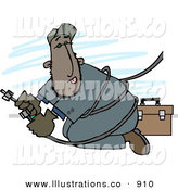 Royalty Free Stock Illustration of AHispanic Repair Person Working with Cable Wires by Djart