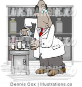 Royalty Free Stock Illustration of an African American Male Pharmacist Filling a Prescription Bottle with Medicine Pills by Djart