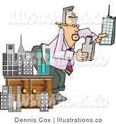 Royalty Free Stock Illustration of an Architect Man Putting a Model City Together by Djart