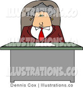 Royalty Free Stock Illustration of an Elderly Business Woman Sitting Behind Her Desk by Djart