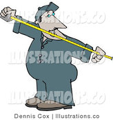 Royalty Free Stock Illustration of an Employee Man Measuring Something with a Tape Measure by Djart