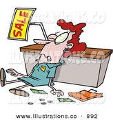 Royalty Free Stock Illustration of an Employee Trampled During a Sale, Beat down by Toonaday