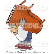 Royalty Free Stock Illustration of an Exaggeration of a Strong White Man Moving a Heavy Grand Piano by Djart