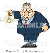 Royalty Free Stock Illustration of an Expert in Hypnotism Waving a Clock Back and Forth and Smiling a Big Grin by Djart