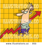 Royalty Free Stock Illustration of an Increasing Profit Arrow on a Graph Chart, Going Right Through a Man by Toonaday