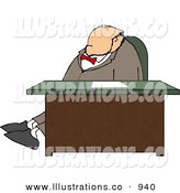 Royalty Free Stock Illustration of an Obese White Businessman Stretching Legs Behind Office Desk by Djart