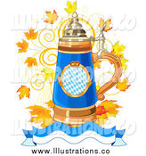 Royalty Free Stock Illustration of an Oktoberfest Beer Stein with Autumn Leaves and a Banner by Pushkin