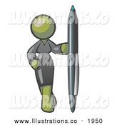 Royalty Free Stock Illustration of an Olive Green Business Woman in a Gray Dress, Standing with One Hand on Her Hip, Holding a Huge Pen by Leo Blanchette