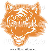 Royalty Free Stock Illustration of an Orange and White Tiger Head by Patrimonio