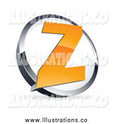 Royalty Free Stock Illustration of an Orange Letter Z in a White and Chrome Circle by Beboy