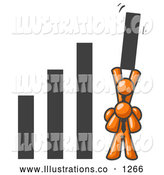 Royalty Free Stock Illustration of an Orange Man on Another Man's Shoulders, Holding up a Bar in an Office Graph by Leo Blanchette