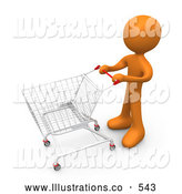 Royalty Free Stock Illustration of an Orange Man Standing with a Shopping Cart in a Store by 3poD