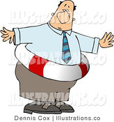 Royalty Free Stock Illustration of an Overweight Businessman Wearing a Life Preserver by Djart