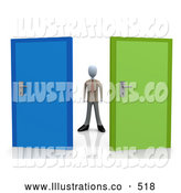 Royalty Free Stock Illustration of an Uncertain Businessperson Standing Between a Blue and a Green Door, Trying to Decide Which Career Path to Take by 3poD