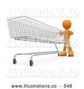 Royalty Free Stock Illustration of AnOrange Man Pushing a Super Long Shopping Cart in a Store While Planning to Purchase a Lot by 3poD