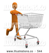 Royalty Free Stock Illustration of AnOrange Man Running Through a Store and Pushing a Shopping Cart by 3poD