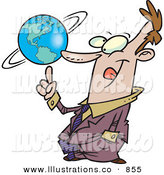 Royalty Free Stock Illustration of AnOutgoing Successful Business Man Spinning the World Globe on His Finger by Toonaday