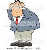 Royalty Free Stock Illustration of AnPuzzled White Man Wearing a Business Suit and Holding His Head- Confusion by Djart