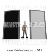 Royalty Free Stock Illustration of AnUncertain Businessperson Standing Between a Black and a Grey Door, Trying to Decide Which Career Path to Take by 3poD