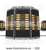Royalty Free Stock Illustration of AOrange Towers of Server Racks on White by 3poD