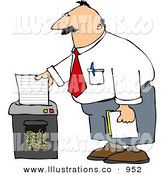 Royalty Free Stock Illustration of AWhite Businessman Shredding Confidential Papers by Djart