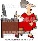 Royalty Free Stock Illustration of AWhite Woman Wearing a Red Dress While Sitting at a Computer Desk by Djart