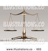 Royalty Free Stock Illustration of Balanced and Unbiased Brass Justice Scales Weighing out Evenly by Anastasiya Maksymenko