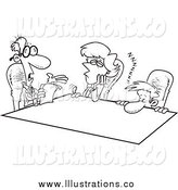 Royalty Free Stock Illustration of Black and White Bored Employees at a Meeting by Toonaday