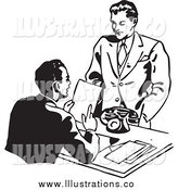 Royalty Free Stock Illustration of Black and White Businessman Discussing a Resume by BestVector