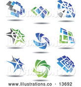 Royalty Free Stock Illustration of Blue, Gray and Green Floating Icons by Vector Tradition SM